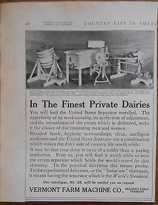 1911 vintage AD Vermont Farm Machine Co Bellows Falls VT
