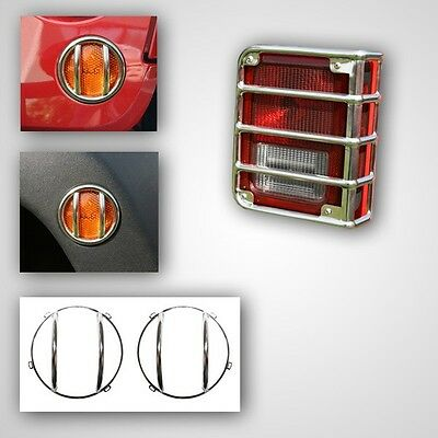 NEW 8-piece Stainless Euro Light Lamp Guard SET / FOR 2007-15 JEEP JK WRANGLER