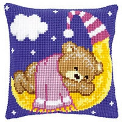 Pink Teddy On The Moon - Vervaco Large Holed Tapestry Cushion Kit - PN-0148195