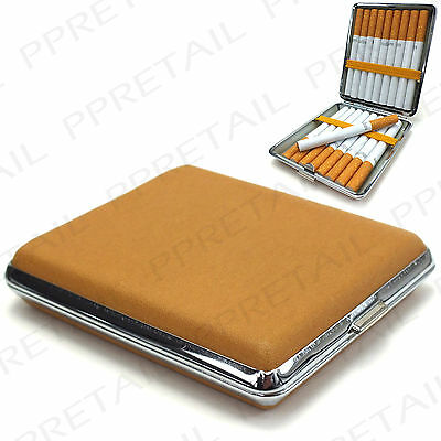 Tan Cigarette Case ★KING SIZE★ Strong Metal Smoking Tobacco Brown Tin Holder Box