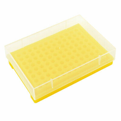 Yellow Plastic 96 Tubes Rack Holder w Cover for 0.2ML Centrifuge Tube