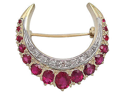 2.32ct Ruby and 0.23ct Diamond, 18ct Yellow Gold Crescent Brooch - Vintage 1976