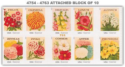 4754-63 4763 4763a Vintage Seed Packets Block of 10 From Pane 2013 MNH - Buy Now