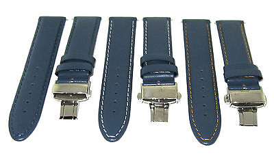20-22-24Mm Leather Watch Band Strap Smooth Deployment Clasp For Panerai Blue #2