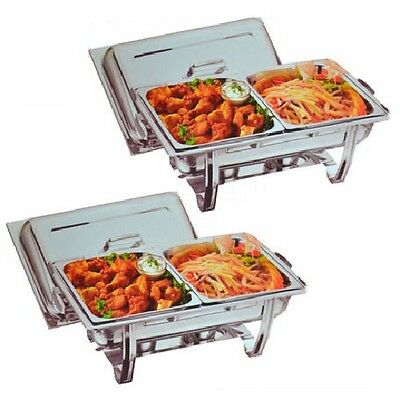 Two Omega Chafing Dishes With Half Size Food Pans **free Next Day Delivery**