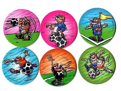POGS - P-POGFOOT6 004 Lot de 6 Pogs POGMAN FOOTBALL SOCCER Neufs
