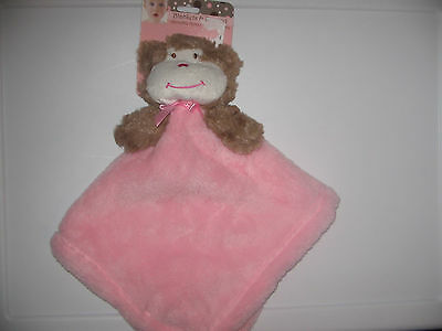 New Beansprout Baby Security Blanket Monkey Brown Pink