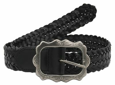 35mm Black Man-Made Plaited Woven Belt