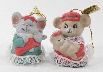 Lot of 2 Vintage 1987 Porcelain 3-Inch Tall Souvenir Jasco Caring Critter Bells