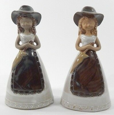 Lot of 2 Vintage 1974 Porcelain 6-Inch Tall Souvenir Lego Western Cowgirl Bells