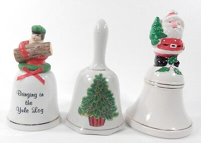 Lot of 5 Vintage 1980s Porcelain Souvenir Christmas Bells