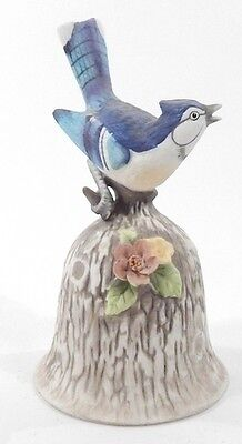 Vintage 1979 Porcelain 5-Inch Tall Collectible Towle Blue Bird Handle China Bell