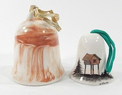 Lot of 2 Vintage 1980 Porcelain 3-Inch Tall Souvenir Alaskan Made Bells