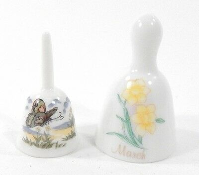 Lot of 5 Vintage 2-Inch Tall Miniature Souvenir Collectible Porcelain Bells