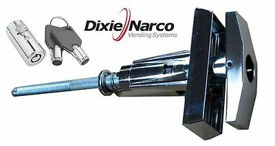 NEW - Dixie Narco early style machines, T-handle Assembly with key cover lock