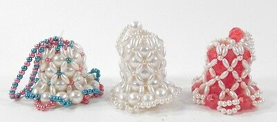 Lot of 3 Vintage 1979 Hand Beaded 2-Inch Tall Collectible Bells