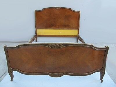 Antique French Louis XV inlaid mahogany full bed  # 09679