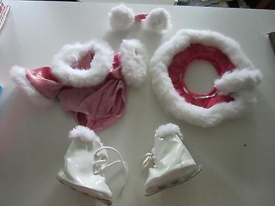 BABW Build A Bear Workshop Ice Skates and 3-pc Pink Figure Skater Outfit
