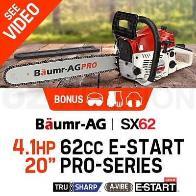 """Baumr-AG 62cc 20"""" Bar Petrol Chain Saw Pruning Commercial Chainsaw with e-Start"""