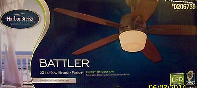 """HARBOR BREEZE 52"""" BATTLER - LED Ceiling Fan with Remote Control - Bronze - NEW"""