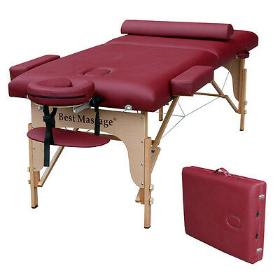 "77"" Long 30"" Wide 3"" Pad Burgundy Portable Massage Table J"