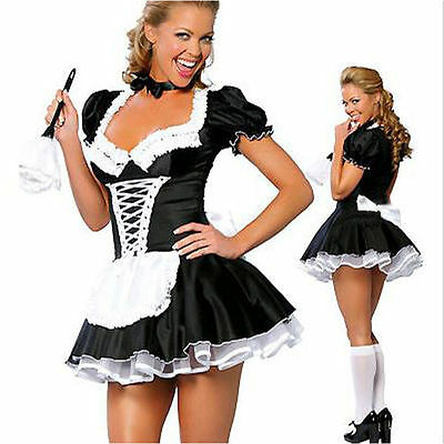 Adult Sexy Naughty French Maid Costume Halloween Fancy Dress Up Party Size S-2XL
