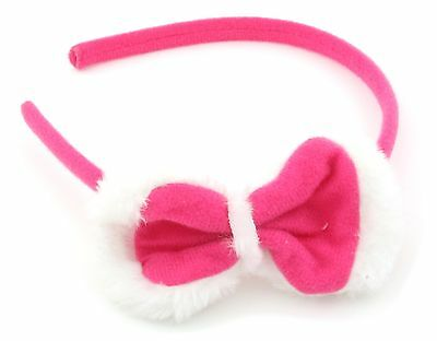 Zest Fluffy Bow Alice Band Hair Accessory Hot Pink