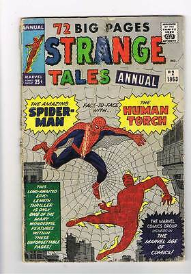 Strange Tales Annual # 2   4th app of Spider-Man  grade 3.0  scarce hot book !!