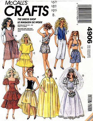 """McCall's 4906 Doll Clothes for 11½"""" Doll Pattern"""