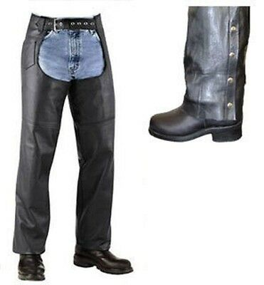 NEW Mens Womens Black Solid Leather Motorcycle biker Chaps Retail $119 Closeout