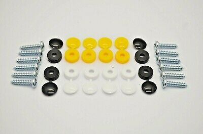 Number Plate Car Fixing Fitting Kit Screws & Cap X 12 White Yellow Black Caps