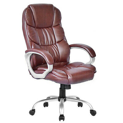 High Back Leather Executive Office Desk Task Computer Chair w/Metal Base O10R