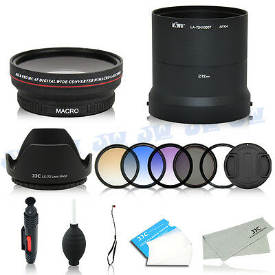 Wide Angle Macro Lens Adapter UV CPL Graduated Filters Kit For Sony DSC-HX300