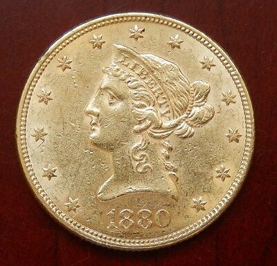"USA: 10 Dollars ""Coronet Head Eagle"" 1880 - 16,71 Gr. Gold !!"