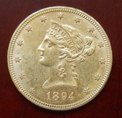 "USA: 10 Dollars ""Coronet Head Eagle"" 1894 - 16,71 Gr. Gold !!"