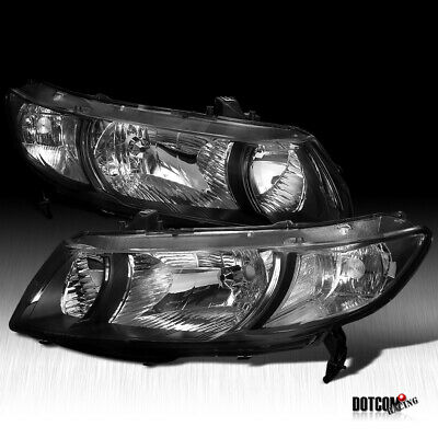 For 2006-2011 Honda Civic 2Dr Coupe Diamond Headlights Head Lamps Black Pair