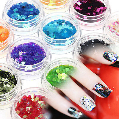 12 Colors Big Hexagon Glitter Powder For UV Acrylic Nail Art Tips Decoration Set
