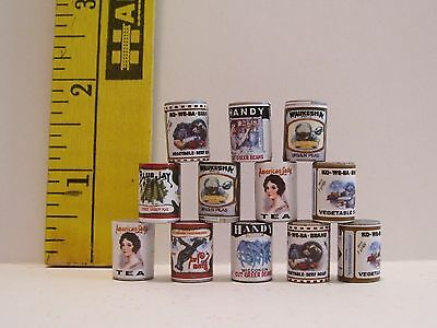 MINIATURE DOLLHOUSE FASHION DOLL CANNED FOOD LOT 12 WITH RETRO STYLE LABELS  #2
