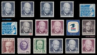 1970 Specialized 17 Eisenhower 1393-1400 1393a 1401v 1402+ Shiny & Dull Gum MNH