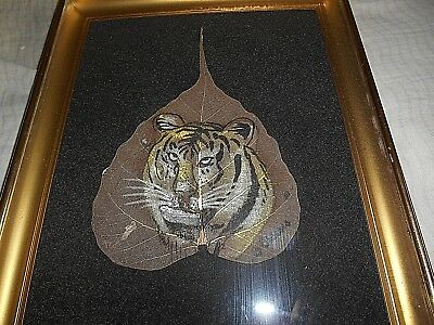 """Original 3 Sisters Hand Painted In Oils On Rare Tropical Fig Leaf """"tiger"""" Framed"""