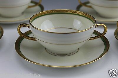 Ahrenfeldt Limoges Green Gold White and Cream 6 Cream Soup Bowls Under Plates