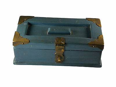 Vintage Wood Hand Made Jewelry Or Petty Cash Box With Brass Accents.