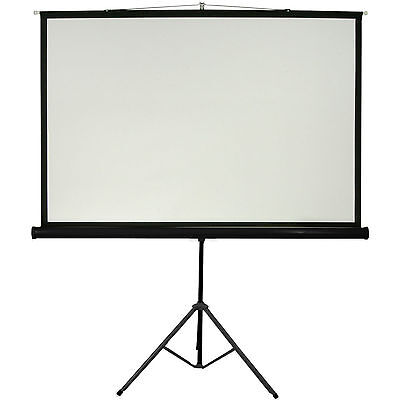 "120"" Tripod Floor Standing Pull-up Projector Screen 4:3 - Portable Presentations"