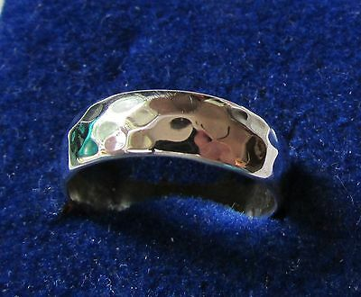 size 6.25 Sterling Silver Plain 7mm Wide Band Rounded Hammered Look Ring