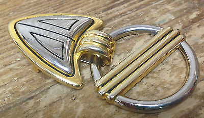 Dame Dane Belt Buckle Oame Maker ? Two Tone Gold Silver Arrow Circle Metal NICE