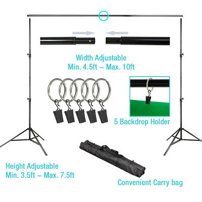 10ft x 7.5 ft Background Backdrop Support Stand Photography Crossbar Kit