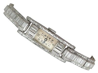 Art Deco Style 4.33 ct Diamond Cocktail Watch in Platinum 1940s