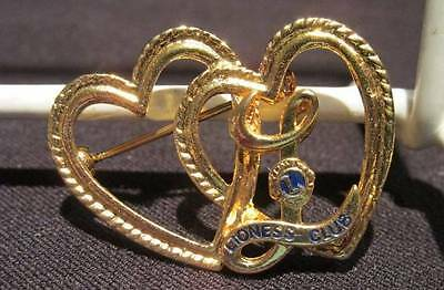 Lioness Club Vintage Gold Tone Double Heart Brooch Pin with L & Club Symbol