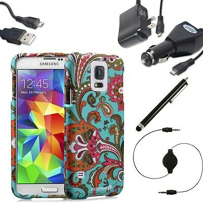 for Samsung Galaxy S5 SV 6in1 Bundle Old Vintage Slim Case Cover Charger Stylus