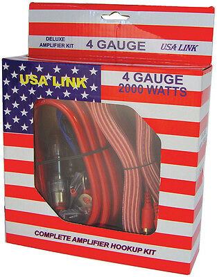 *usa Link* 4g. Amp Wiring Kit W/rca Cables; Qpower 4gauge Amplifier Kit